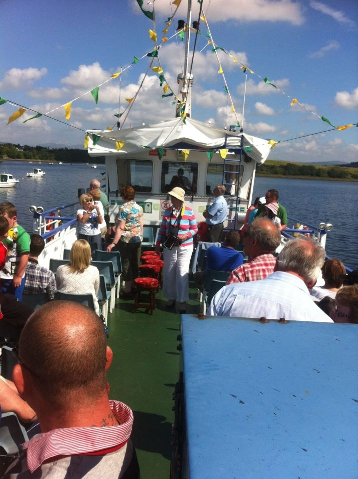 On board The Donegal Bay Waterbus. The upper deck is the place to be today in the sunshine