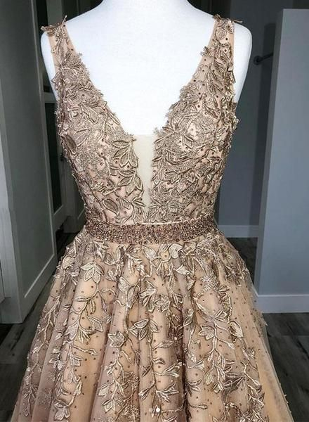 1cbc923628 Champagne custom made v neck tulle lace long prom dress