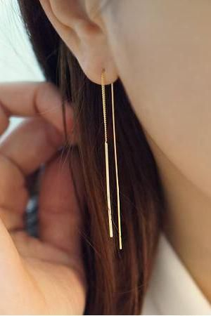 Long Bar Ear Threader ,Pull Through Earrings. Bar Earrings ,long post earrings, Long chain earrings