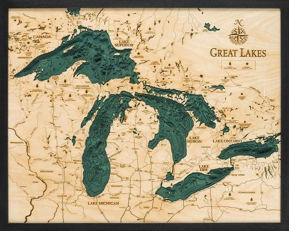 great lakes depth map Great Lakes Wood Carved Topographical Depth Chart Map With great lakes depth map