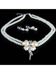 Rhinestones and Sweetheart Pearls Wedding Jewelry Set with Necklace and Earrings
