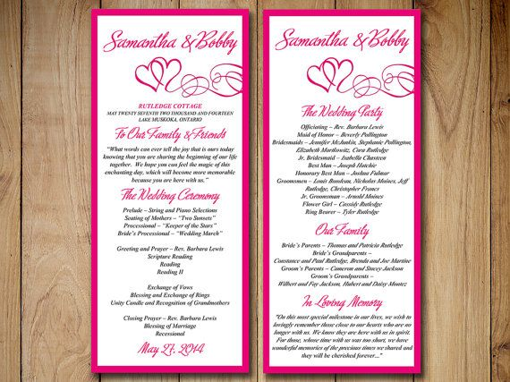wedding program templates download