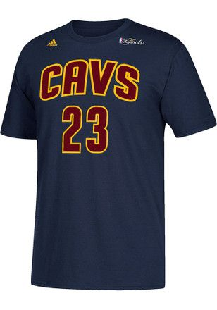 LeBron James # Cleveland Cavaliers Mens Navy Blue Adidas NBA Finals Tee