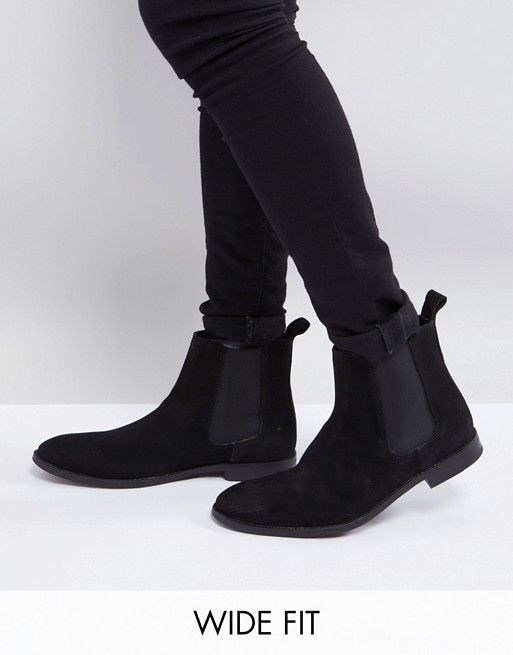 5814e14ef882 Wide Fit Chelsea Boots in Black Suede in 2019 | clothing | Boots ...