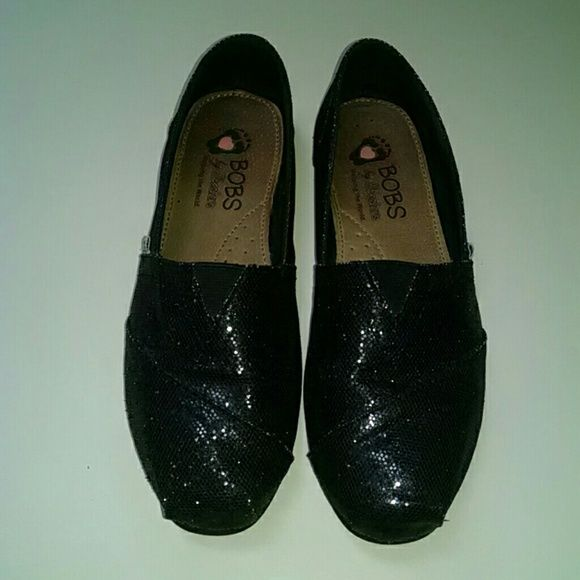 Sparkly BOBS shoes Black sparkly BOBS shoes~ size 7~excellent condition!! BOBS Shoes Flats & Loafers