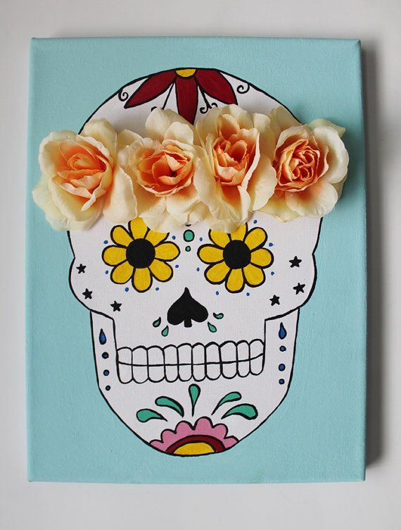 Sugar Skull Canvas Painting, Flower Crown, 9x12 inch Canvas, Custom Painting, Colorful Skull Painting, bedroom decor, College canvas