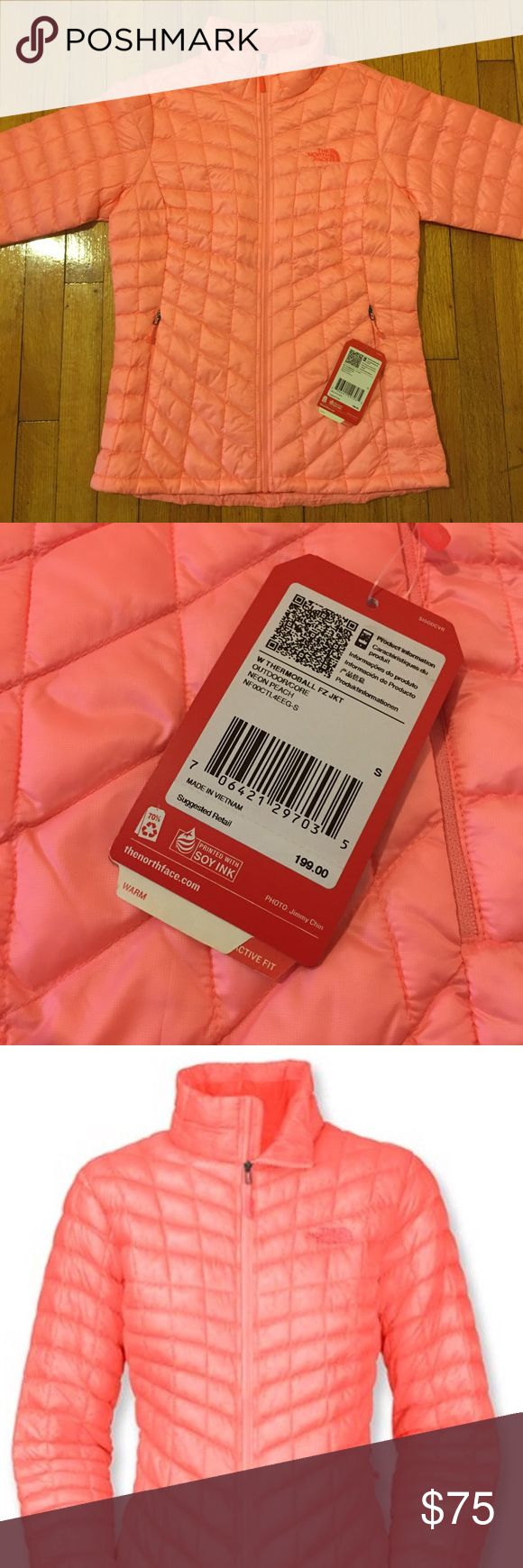 North Face Thermoball Jacket Neon Peach - Rtl $199 Women's North Face Thermoball Full Zip Jacket Neon Peach - Small - Retails $199 - New w/ Tags North Face Jackets & Coats Puffers