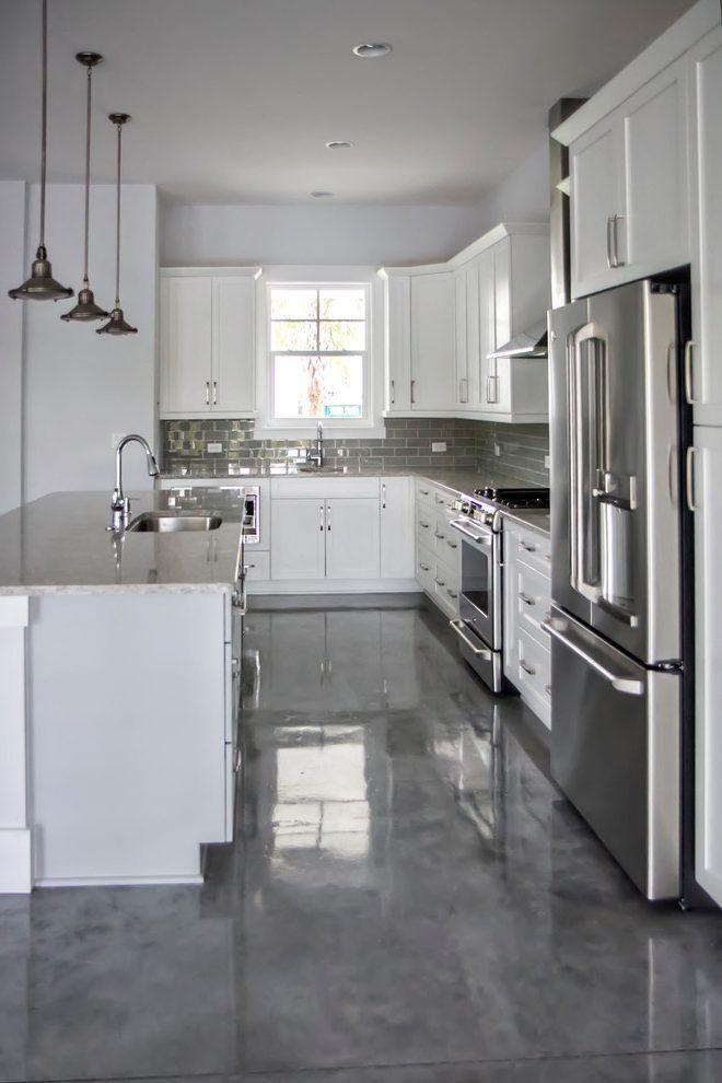 Gray Concrete Floor Kitchen Modern With White Kitchen Island