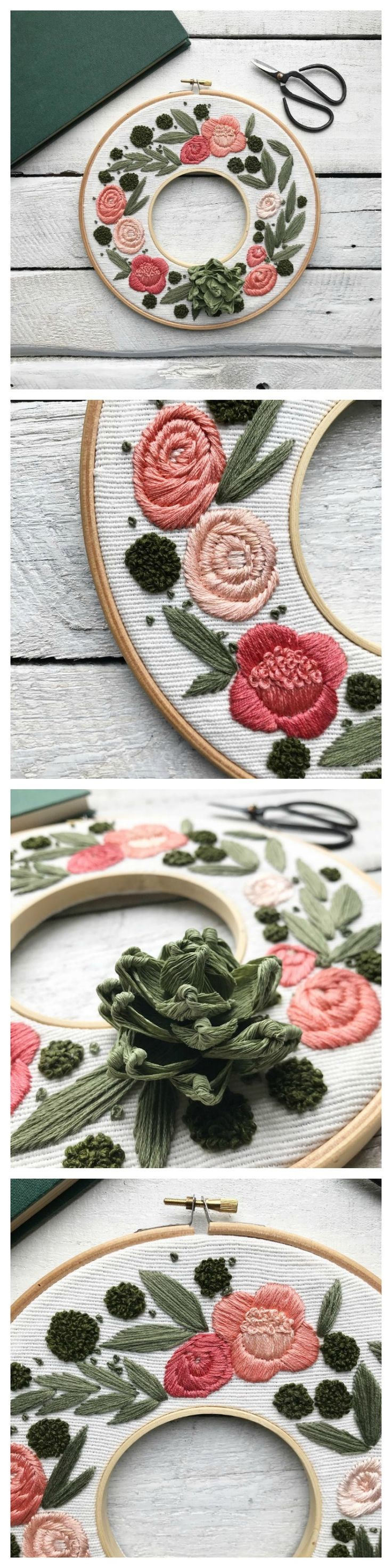 Floral 3D embroidered wreath by Ovo Bloom