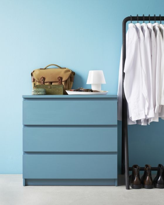 The MALM dresser in gray blue is practical storage with a cool factor.  Love the wall color!!