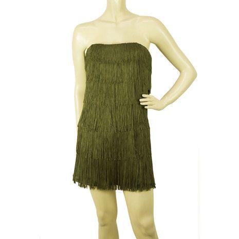 Jay Ahr Dark Green 100% silk Strapless w. Fringes Mini Length Dress size M