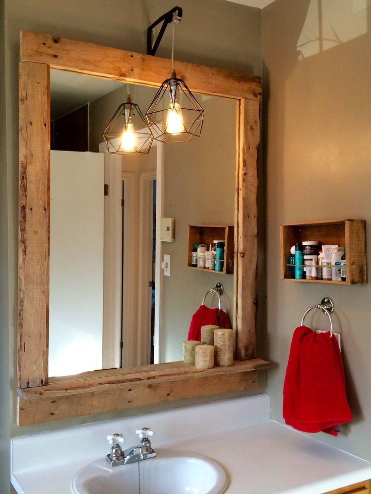 miroir en palettes avec ampoule vintage homemade design ideas pinterest vintage. Black Bedroom Furniture Sets. Home Design Ideas