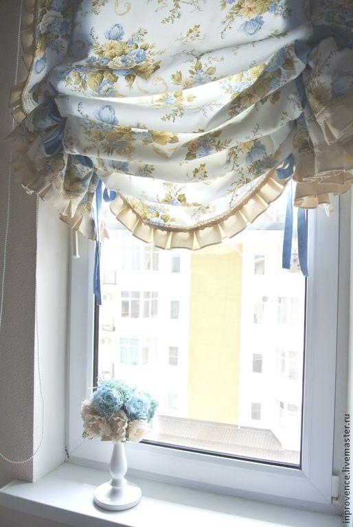 Купить Шторы английские с голубыми розами в стиле Шебби Шик - голубой, шторы в детскую