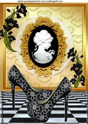 BLACK SPARKLE SHOES WITH CAMEO LADY A4 on Craftsuprint - Add To Basket!