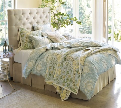 <3 the headboard! Lorraine Tufted Headboard | Pottery Barn: Guest Bedrooms, Tufted Headboards, Duvet Covers, Comforter, Beds Frames, Beds Linens, Upholstered Headboards, Guest Rooms, Pottery Barns