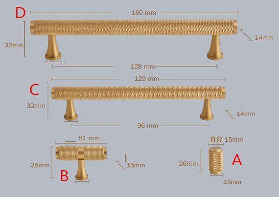 378 5 Pure Copper Cabinet Handles Gold Brass T Bar