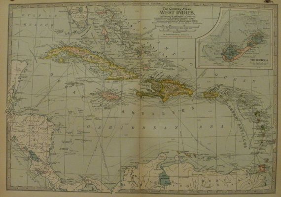 West Indies Map,Cuba Map Jamaica Haiti Puerto Rico Bermuda Antilles,Island Map,Atlas Wall Map Art,Place on the World Map,1897 11x16 VS14