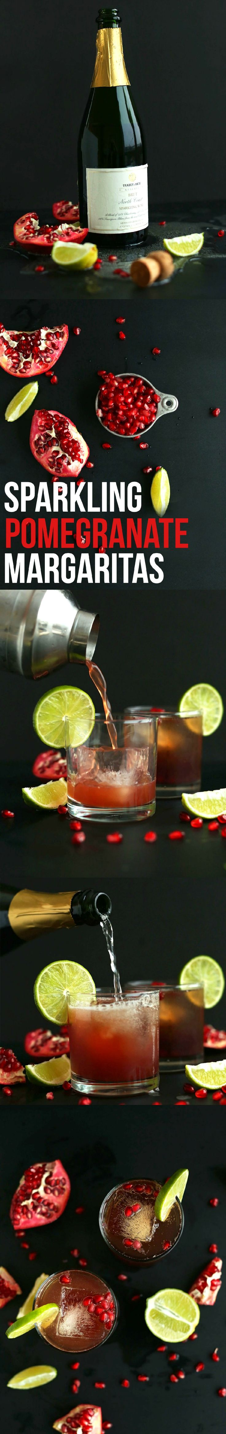 AMAZING 5-ingredient Sparkling Pomegranate Margaritas! Perfect bubbly cocktail for NYE and special occasions!