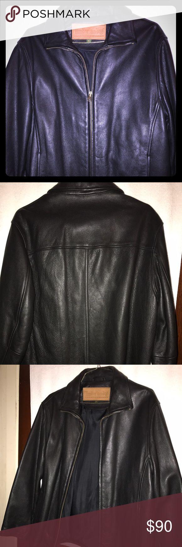 Black Leather Timberland Jacket Size S unisex Super nice Timberland Leather Jacket true to size slightly worn size S men or women will enjoy Timberland Jackets & Coats Performance Jackets