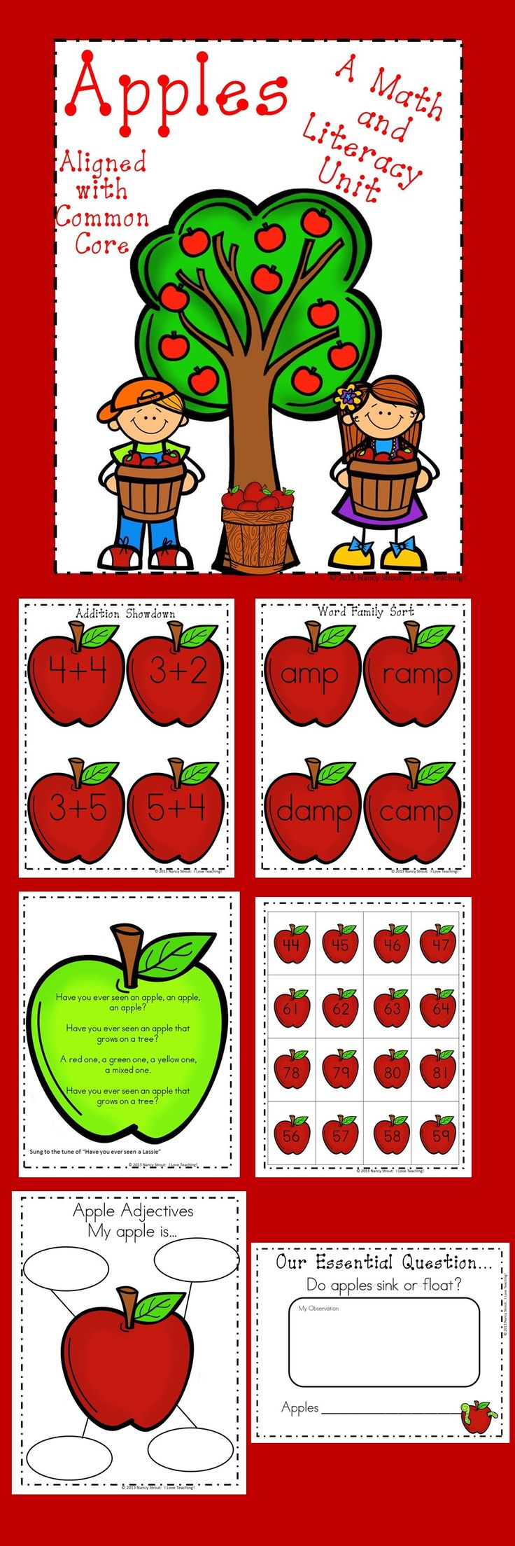 Apples! Apples! Apples! This apple unit includes two experiments, two apple crafts, an apple song, a tree map, inferencing activity, word family sort, sight word concentration, apple adjectives, numbers and tallies, apple graph, and two math games.