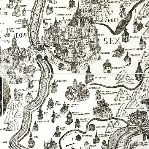 """English artist Grayson Perry's 2004 Map of an Englishman portrays his mind in a mock-Tudor etch of an imaginary island, surrounded by the """"seas"""" of his perceived psychological flaws — desires, vanities, prejudices, fears. The island itself is vaguely brain-shaped, turning the map into a kind of cartographic phrenology of the self."""