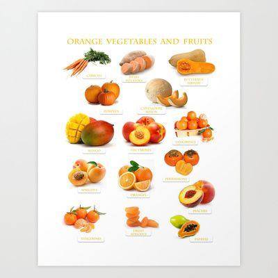 Orange Fruits and Vegetables Art Print by Gabriela Tardea - $17.56