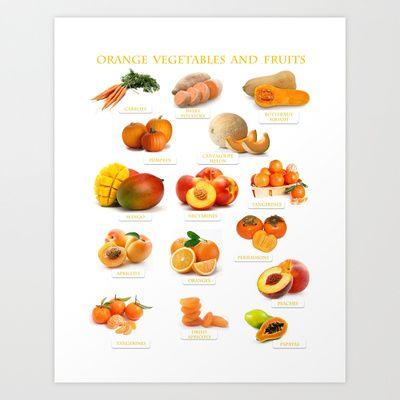 Orange Fruits and Vegetables Art Print by Gabriela Tardea - $17.56