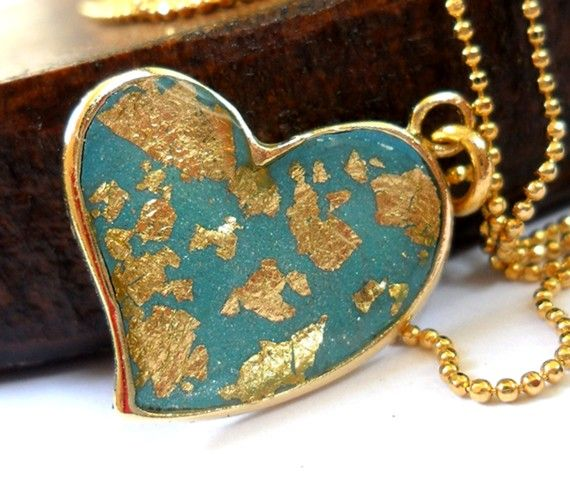 Gold  & Turquoise gold leaf Heart Necklace by shirazpeled on Etsy, $32.00