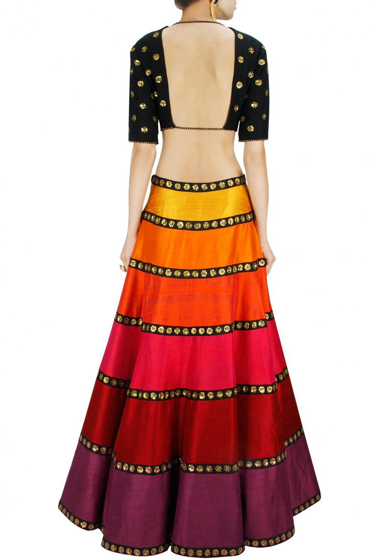 Black & Multi-Colour Sequin Floral Embroidered #Lehenga Set. Available Only At Pernia's Pop-Up Shop.
