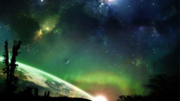 Wallpaper trees, planets, light, fantasy, stars