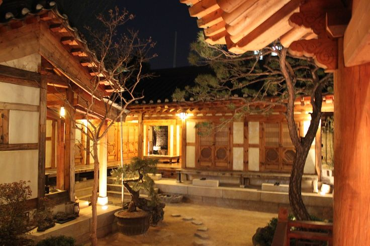 Beautiful Inner Courtyard of a Hanok (RakKoJae hanok in Bukchon Hanok Village, Seoul)