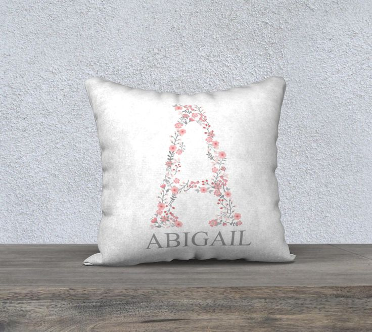 Personalized Initial Pillow Cover, Nursery Pillow, Monogram, Baby Gift, Floral Initial, Baby Girl Nursery, Boho Nursery, Floral Baby  https://www.etsy.com/ca/listing/511971609/personalized-initial-pillow-cover