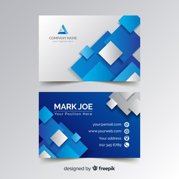 Business Card Template With Blue Squares Premium Vector Freepik Vector Business Card Design Creative Business Cards Creative Free Printable Business Cards