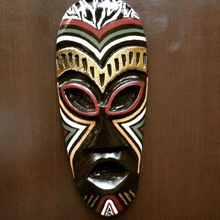Afrika Mask#Duvar tipi,asılabilir Mask#Altın Varak destekli,zebra desenli Orta boy Afrika Mask#Mask-Sanat# ziya basar-Mask sanat-facebook#