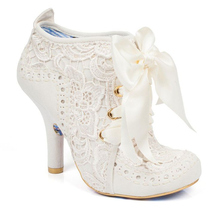Abigail is back to join the party this season in this beautiful new lace style. This perfect high heeled bootie features cream canvas with lace overlay and wide satin laces.  With it's pretty vintage style, Abigails Party is the perfect wedding shoe for brides looking for something stylish and unique.