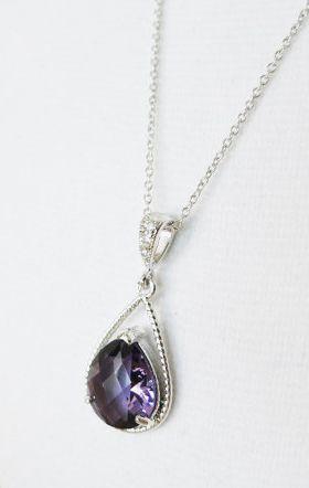 Mabel  Amethyst Purple Glass Teardrop Necklace