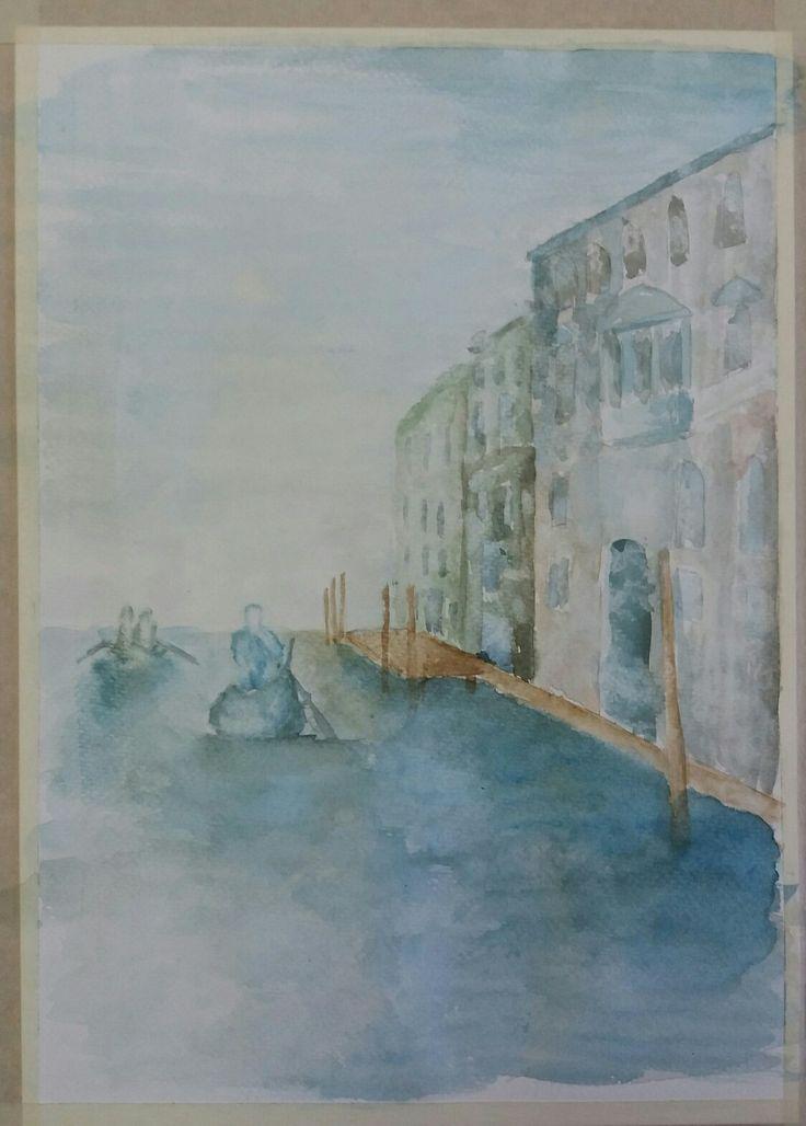 Acuarela. Paisaje de Venecia,  Italia.