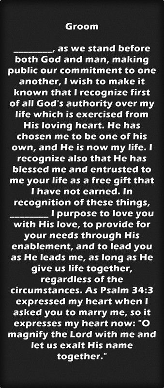 Christian Wedding Vows Examples for Groom and Bride   Wedding vows ...