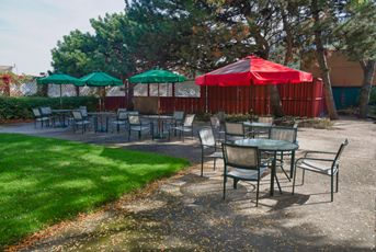 Our outdoor green space, complete with barbecues, is a perfect retreat in warmer weather.
