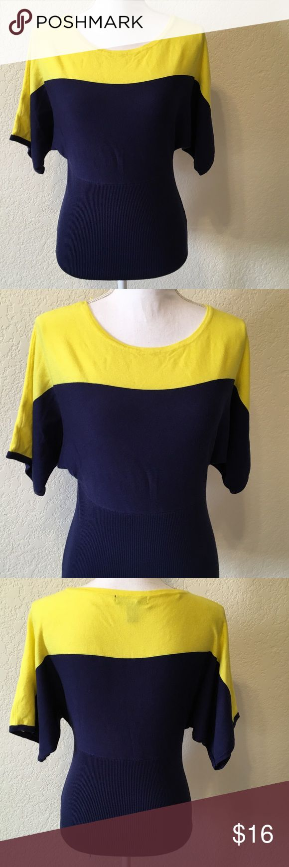 """NWOT Style & Co Yellow & Navy Top Sz M NWOT.  Style & Co Blue and Yellow Batwing Sleeve Sweater Top.  Size Med Petite.  Length from top of shoulder to hem: 23"""".  Sleeve length: 10"""".  Sleeve cuff width: 8"""".   80% rayon, 20% nylon.  Machine wash cold.    Love it but not the price - I'm open to (reasonable) offers or consider bundling 2 or more items for an additional 15% off and combined shipping!    Check out my reviews - I only sell great quality items! Style & Co Tops Blouses"""