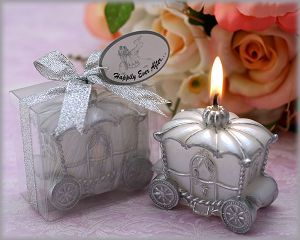 silver candle wedding favors, silver candle bomboniere