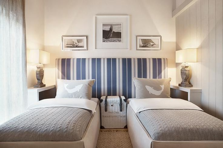 Love this idea! Fabulous lighting on personal bedside/bookshelf. Two Beds with One Shared Headboard, Cottage, Boy's Room