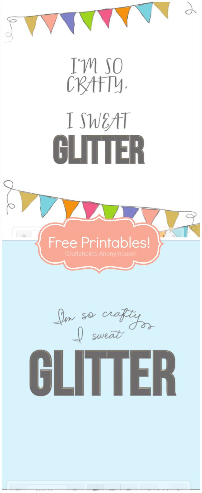 I'm so crafty I sweat glitter! {Free printable} This is so perfect!!