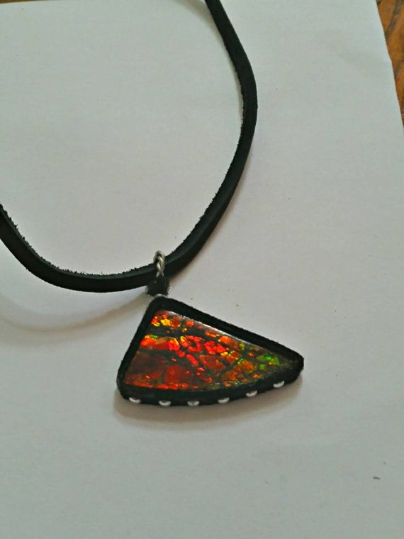 leather wrapped ammolite pendant