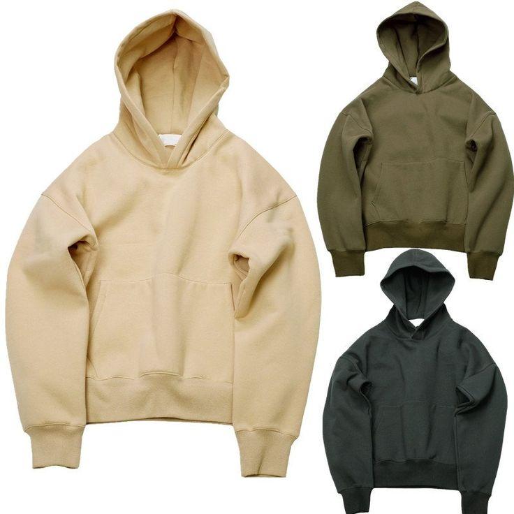 Very good quality nice hip hop hoodies with fleece WARM winter mens kanye west hoodie sweatshirt swag solid Olive  pullover