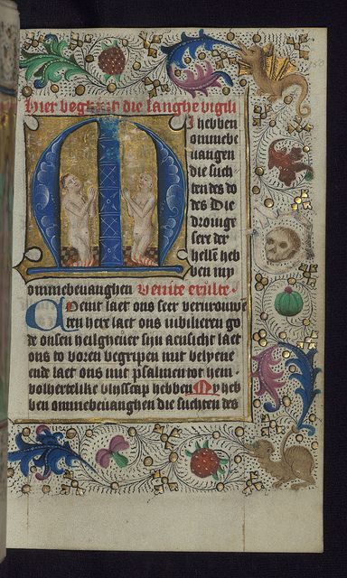 Illuminated Manuscript, Book of Hours in Dutch, Initial M with two souls praying in purgatory, Walters Manuscript W.918, fol. 150r by Walters Art Museum Illuminated Manuscripts, via Flickr