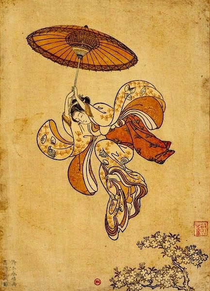 by Suzuki Harunobu 鈴木 春信 [] [1725 – 1770] [] first UKIYO E artist to produce full color prints [nishiki-e] in 1765, rendering obsolete the former modes of two- n' three color prints [] like many artists of his day, Harunobu also produced erotic images [] during his lifetime n' shortly afterwards, many artists imitated his style [] 京都に出て西川祐信に学び、後に江戸に住んだといわれる。または西村重長の門人とも伝わる。姓は穂積、後に鈴木を名乗る。通称次郎兵衛。長栄軒、思古人とも号す。細身で可憐、繊細な表情の女性像で知られる美人画の浮世絵師である。初期には紅摺絵の役者絵も知られている。浮世絵版画における「錦絵」技法の大成者としても知られる。