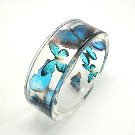 Blue Butterflies Bracelet / size m by sisicata on Etsy, $50.00