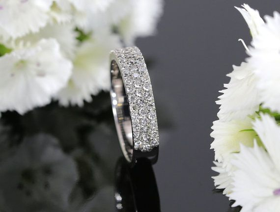 14K White Gold Diamond Halfway Pave Wedding Band Fashion Band