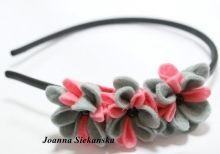 opaska do włosów kwiatki szaro-różowe